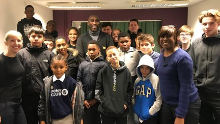 Sol Campbell with children at the Homerton Row child and adolescent mental health services (CAMHS) c