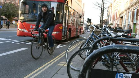 Cyclists along Mare Street in Hackney
