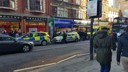The scene in Kingsland High Street after the fight. Picture: Michael Lee Aldridge