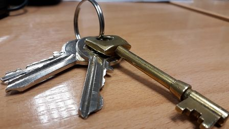 A file image of keys. Landlord L&Q has failed to fix the broken door of a Hackney tower block for a
