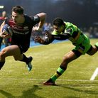 Saracens' Sean Maitland scores their fifth try during the European Rugby Champions Cup, Pool Four ma