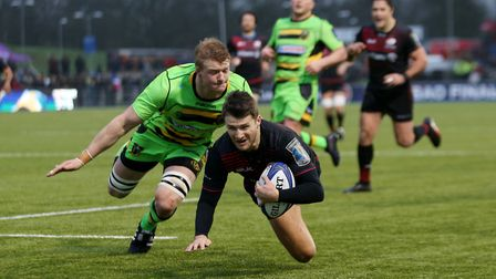 Saracens' Richard Wigglesworth scores their fourth try during the European Rugby Champions Cup, Pool