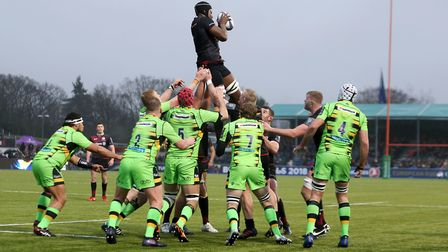 Saracens' Maro Itoje wins a lineout during the European Rugby Champions Cup match against Northampto