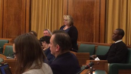 Cllr Yvonne Maxwell speaks at the town hall meeting. Picture: Ian Rathbone