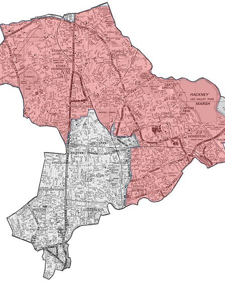 The order will be in place across the red areas. Picture: Hackney Police