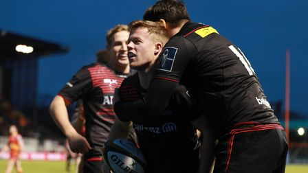 Tom Whiteley of Saracens celebrates scoring a try during the Anglo-Welsh Cup clash against Dragons (