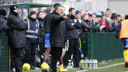 Tom Loizou issues instructions to his Haringey Borough team from the touchline (pic: Simon O'Connor)