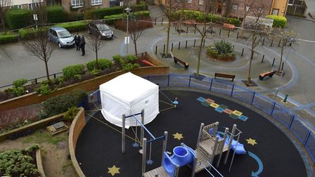The victim was stabbed in the playground at the George Downing Estate. Picture: Polly Hancock