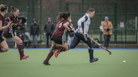 Hampstead & Westminster's Joyce Esser attacks against Bedford (pic Mark Clews)