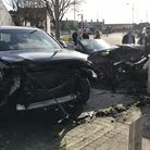 Multiple vehicles were involved in a crash on Bevan Street East in Lowestoft. Picture: Thomas Chapma