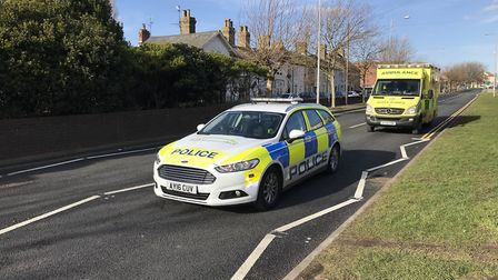 Police and an ambulance crew were at the scene. Picture: Thomas Chapman