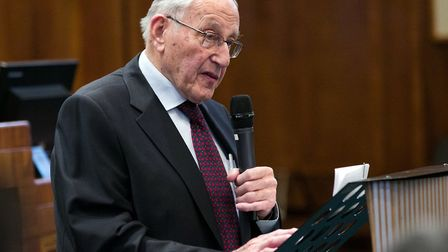 Holocaust survivor Manfred Goldberg speaking on Holocaust Memorial Day. Picture: Hackney Council/ Ga