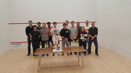 Prizes are awarded at Cumberland LTC after the Middlesex Closed Squash Tournament (pic: Cumberland L