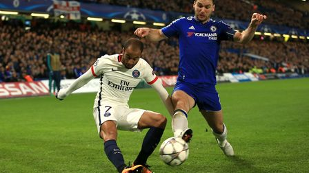 Lucas Moura (left) in action for Paris Saint-Germain at Chelsea in the Champions League (pic: John W