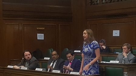 Claire-Louise Leyland addresses the Council meeting on January 29
