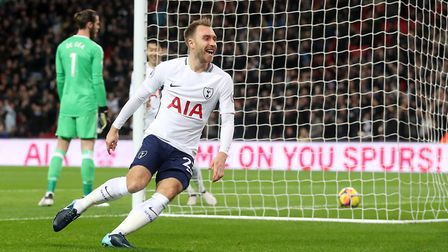 Tottenham Hotspur's Christian Eriksen celebrates scoring after 11 seconds against Manchester United