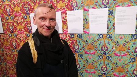Donald next to the Wallpaper he helped inspire, at the launch of LGBTQ+ history month at Hackney Mus