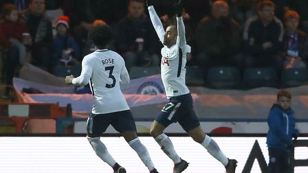Tottenham Hotspur's Lucas Moura (right) celebrates scoring the equaliser at Rochdale and his first g