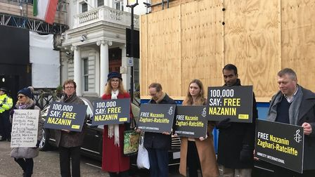 Campaigners outside the Iranian embassy. Picture: Eilidh Macpherson
