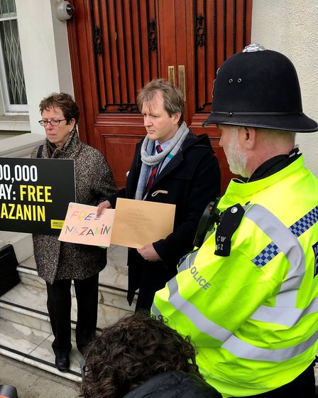 Richard Radcliffe outside the Iranian Embassy with a representative from Amnesty International. Pict