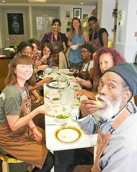 Spirit at a Made in Hackney food class, where he taught Rastafarian cooking techniques. Picture: Mad