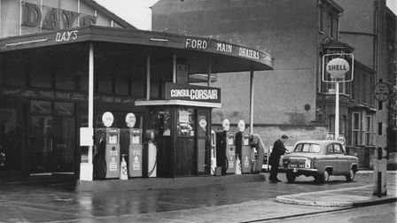 One of Mr Lovett's photos, taken in 1963. A car showroom and flling station opposite the main premis