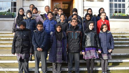 The Olive School outside Hackney Town Hall ahead of a Holocaust memorial service on Monday. Photo by