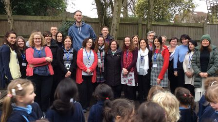 World's tallest man Paul Sturgess visiting Our Lady of Muswell Primary School. Photo by Our Lady of