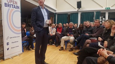 Nick Clegg speaks to an audience at Fleet Road Primary School on February 1