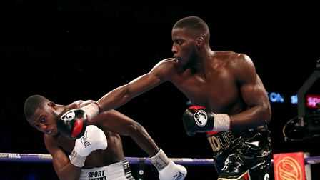 Lawrence Okolie (right) and Isaac Chamberlain during the WBA Continental cruiserweight championship