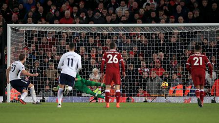 Tottenham Hotspur's Harry Kane scores his side's second goal of the game from the penalty spot durin