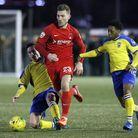 Haringey's Michael Ademiluyi (right) in action against Leyton Orient in the FA Trophy earlier this s