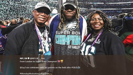 A tweet from NFL UK of running back Jay Ayari celebrating Super Bowl victory with his parents (Pic: