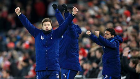 Tottenham manager Mauricio Pochettino celebrates his side's first goal at Liverpool (pic Peter Byrne