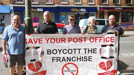 Campaigners opposed to the transfer of Crown Post Offices in Crouch End and Muswell Hill taking acti