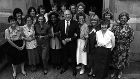 Diane Abbott, pictured to the left of Labour leader Neil Kinnock, following her election in 1987. Pi