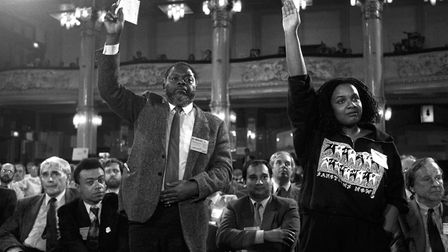 Diane Abbott and Bernie Grant at a debate on the creation of separate black sections within the Labo