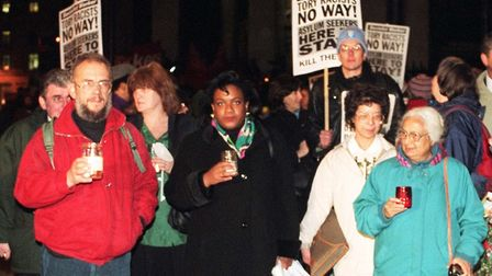 1996: Diane Abbott (centre) during a vigil in Whitehall over the government's proposed changes to be