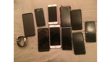 Mobile phones found in the raid on an address in Camden