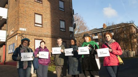 Campaigners on the Northwold Estate protesting against redevelopment of the estate Dorinia Harley,Ni