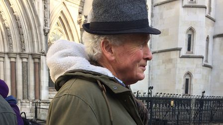 Stop the HDv campaigner Gordon Peters outside the Royal Courts of Justice. Picture: JON KING