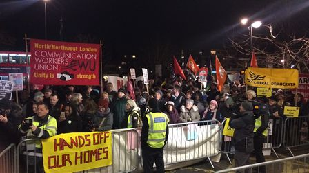 About 200 protesters gathered outside Haringey Civic Centre in Wood Green last night ahead of a full