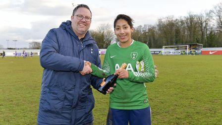 Tottenham Hotspur Ladies defender Lucia Leon presented with the Player of the Match award by the Spu