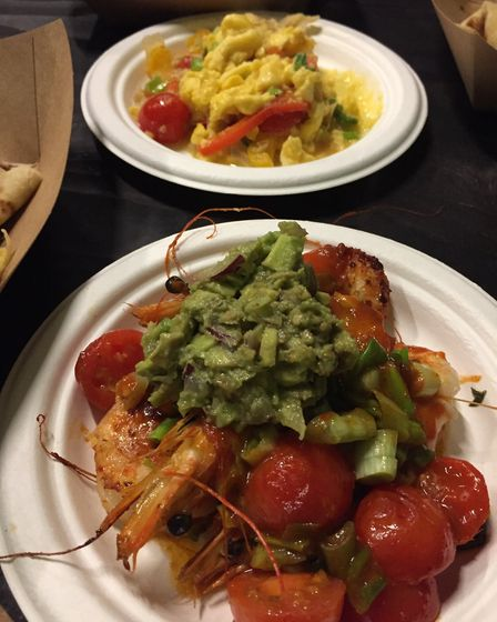 Peppered shrimps and ackee and saltfish at Rudie's Boxpark