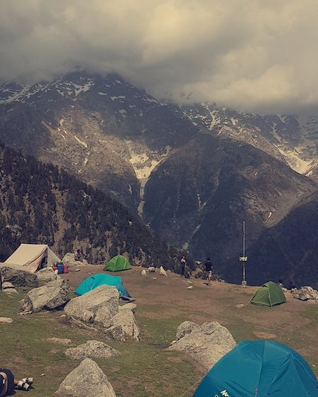 The view from the campsite during Mr Raithatha's trek in the Himalayas.