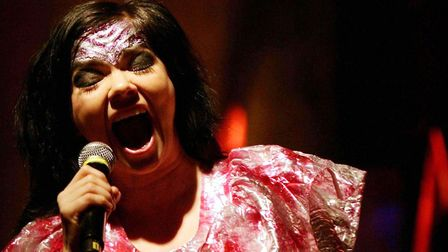Bjork, pictured on stage at the Hammersmith Apollo, is headlining All Points East on Sunday May 27.