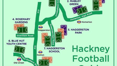 The venues across Hackney that can be booked using MyLocalPitch (pic: MyLocalPitch)