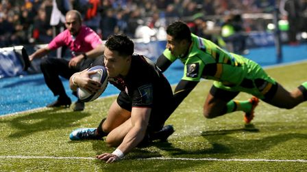 Saracens' Sean Maitland scores their fifth try during the European Rugby Champions Cup clash against