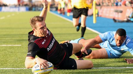 Chris Wyles scores a try for Saracens earlier in the season (pic: Adam Davy/PA)