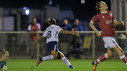 Tottenham Hotspur Ladies' Bianca Baptiste celebrates after finding the net (pic: wusphotography.com)